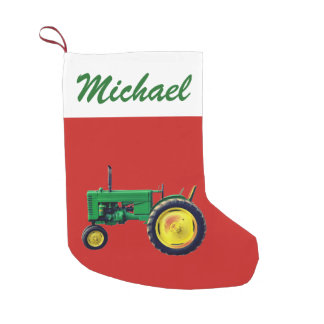 Personalized Vintage Green Tractor on Red Small Christmas Stocking