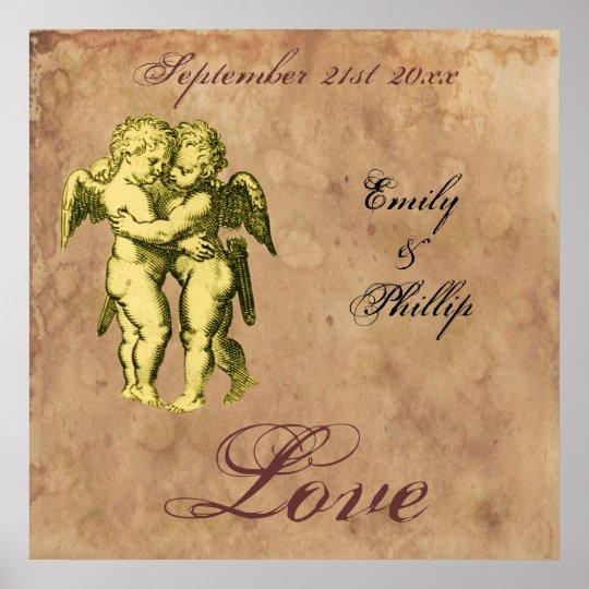 Personalized Vintage Grunge Cherubs Love Poster