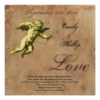 Personalized Vintage Grunge Cupid Love Poster