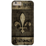 Personalized Vintage Grunge  Fleur De Lis Barely There iPhone 6 Plus Case