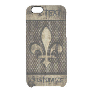 Personalized Vintage Grunge Fleur De Lis Clear iPhone 6/6S Case