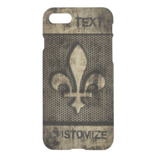 Personalized Vintage Grunge Fleur De Lis iPhone 7 Case