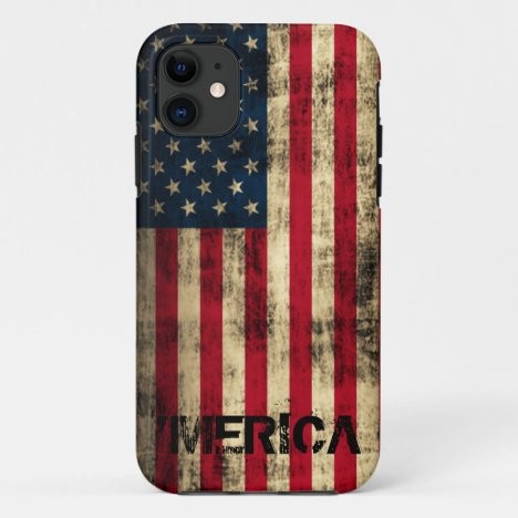 Personalized Vintage Grunge 'Merica Flag iPhone 11 Case
