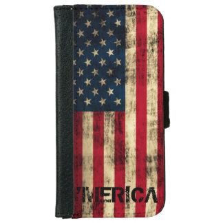 Personalized Vintage Grunge 'Merica Flag iPhone 6 Wallet Case