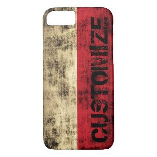 Personalized Vintage Grunge Polish Flag iPhone 7 Case