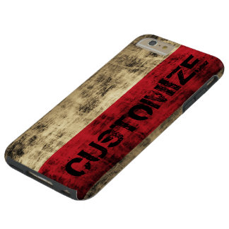 Personalized Vintage Grunge Polish Flag Tough iPhone 6 Plus Case