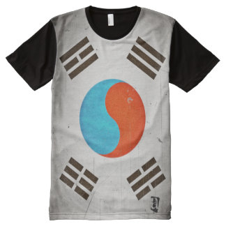 Personalized Vintage Grunge South Korea Flag All-Over-Print T-Shirt