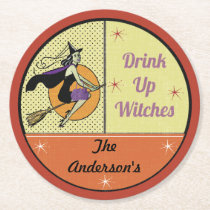 Personalized Vintage Halloween Round Paper Coaster