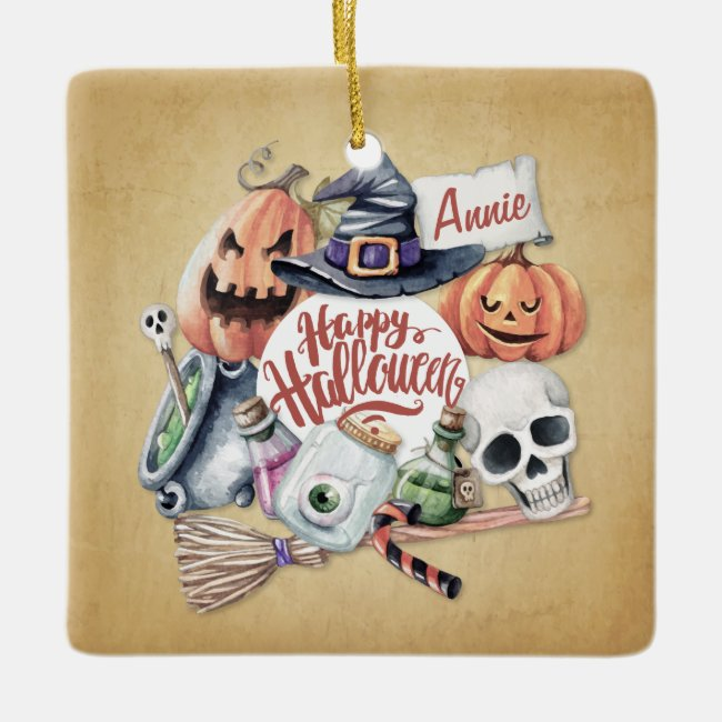 Personalized Vintage Happy Halloween | Ornament