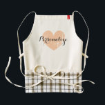 """Personalized vintage heart apron for women<br><div class=""""desc"""">Personalized vintage heart apron for women. Cute cooking / baking aprons for mom,  aunt,  grandma,  sister,  wedding party,  bbq etc. Elegant script calligraphy typography with weathered love symbol. Personalizable with name,  monogram or fun slogan. Rustic peach color icon.</div>"""
