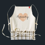 "Personalized vintage heart apron for women<br><div class=""desc"">Personalized vintage heart apron for women. Cute cooking / baking aprons for mom,  aunt,  grandma,  sister,  wedding party,  bbq etc. Elegant script calligraphy typography with weathered love symbol. Personalizable with name,  monogram or fun slogan. Rustic peach color icon.</div>"