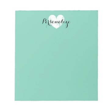 Valentines Themed Personalized vintage heart mint green notepad
