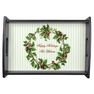 Personalized Vintage Holly Wreath Christmas Serving Tray