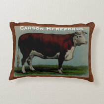 Personalized Vintage Illustration of Hereford Cow Decorative Pillow