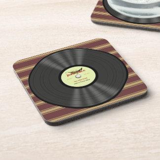 Personalized Vintage Jazz Vinyl Record Coasters