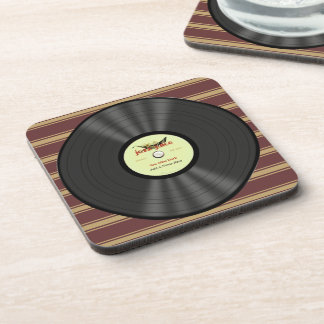 Personalized Vintage Jazz Vinyl Record Drink Coaster