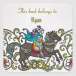 Personalized Vintage Knight Book label Square Sticker