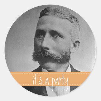 Personalized Vintage Labels Mustache / Moustache Classic Round Sticker