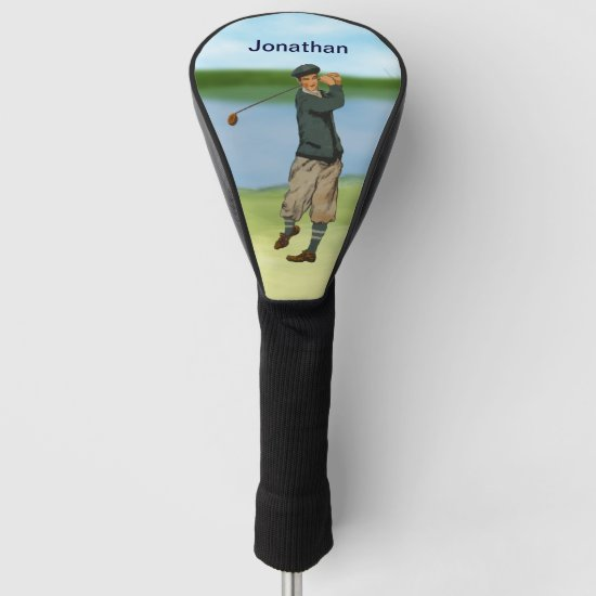 Personalized Vintage look Golfer Golf  swing Golf Head Cover