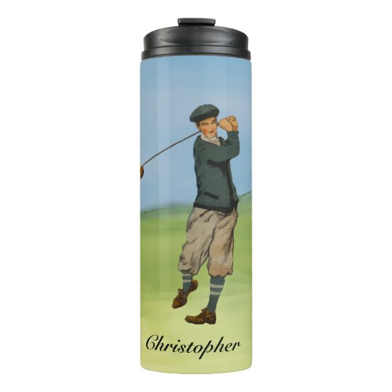 Personalized Vintage look Golfer Golf  swing Thermal Tumbler
