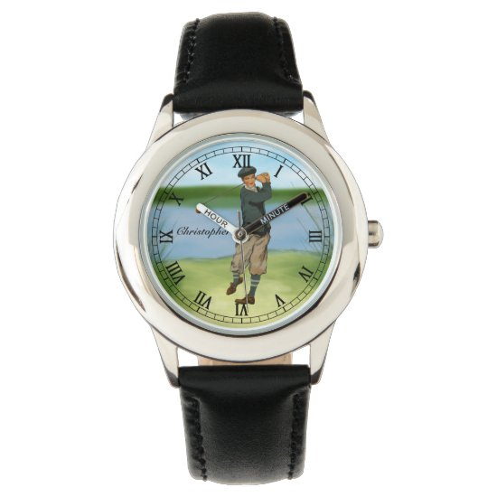 Personalized Vintage look Golfer Golf Wrist Watch