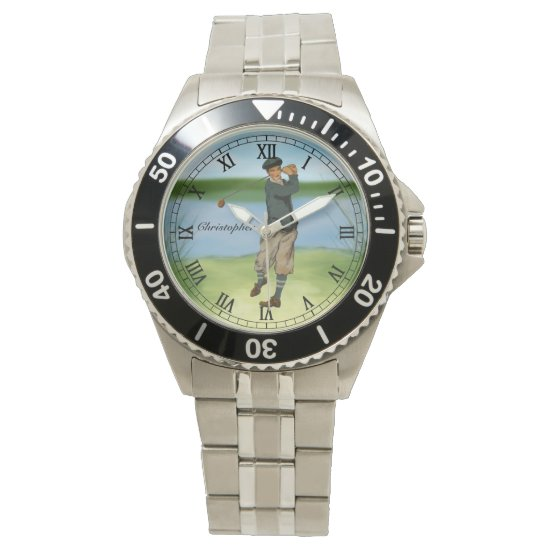 Personalized Vintage look Golfer Golf Wristwatch