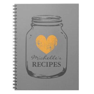 Personalized vintage mason jar recipe notebook
