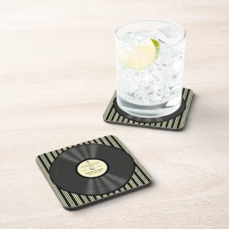 Personalized Vintage Microphone Vinyl Record Drink Coaster