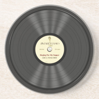 Personalized Vintage Microphone Vinyl Record Sandstone Coaster