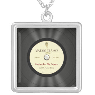 Personalized Vintage Microphone Vinyl Record Silver Plated Necklace