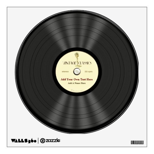 Personalized Vintage Microphone Vinyl Record Wall Stickers