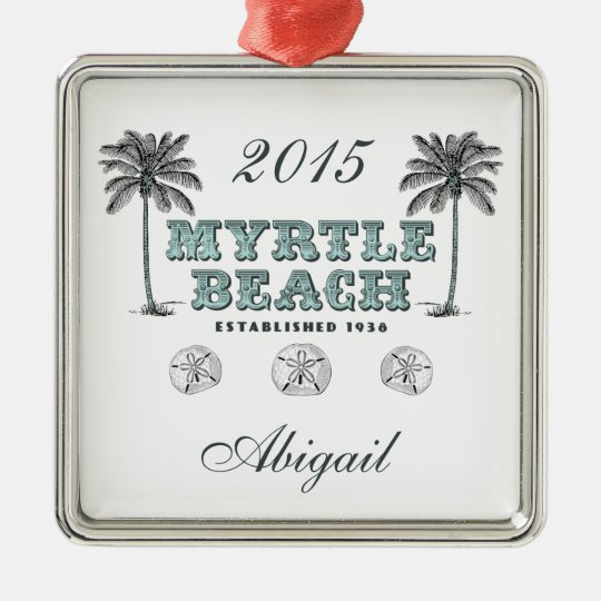 Personalized Vintage Myrtle Beach South Carolina Metal Ornament