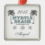 Personalized Vintage Myrtle Beach South Carolina Square Metal Christmas Ornament
