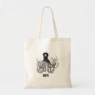 Personalized Vintage Octopus Budget Tote Bag
