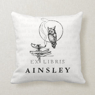 Personalized Vintage Owl Collage Throw Pillow