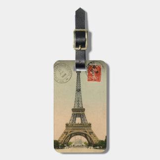 Personalized vintage Paris Postcard Luggage tag