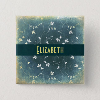 Personalized Vintage Pattern with Birds and Leaves Pinback Button