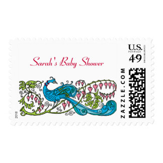 Personalized Vintage Peacock Baby Shower Postage