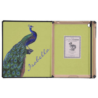 PERSONALIZED VINTAGE PEACOCK iPad FOLIO CASES