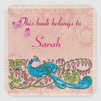 Personalized Vintage Peacock Lacy Pink Book Label