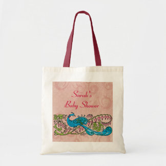 Personalized Vintage Peacock on Pink Baby Shower Budget Tote Bag