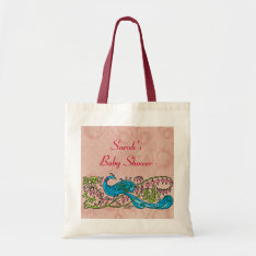 Personalized Vintage Peacock on Pink Baby Shower Tote Bag at Zazzle