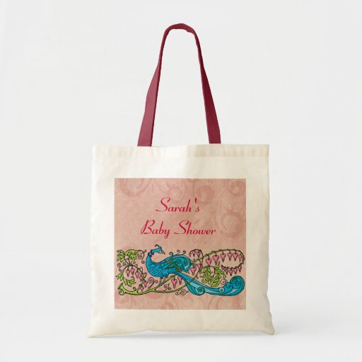 personalized vintage peacock on pink baby shower tote bag zazzle