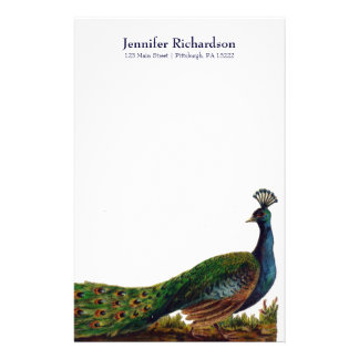 Personalized Vintage Peacock Stationery