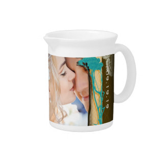 Personalized Vintage Photo Collage Beverage Pitcher