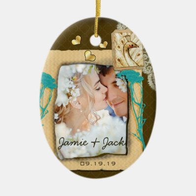 Personalized Vintage Photo Collage Double-Sided Oval Ceramic Christmas Ornament