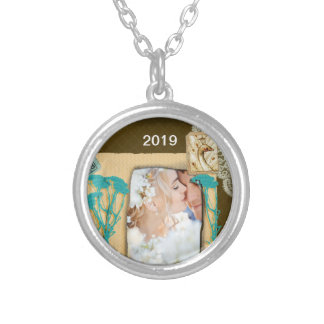 Personalized Vintage Photo Collage Silver Plated Necklace