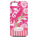 Personalized Vintage Pink Damask Love Bird iPhone 5 Cover