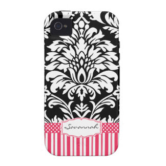 Personalized Vintage Pink Damask Love Bird iPhone 4 Cases