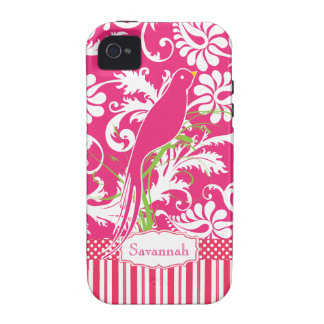 Personalized Vintage Pink Damask Love Bird Vibe iPhone 4 Case